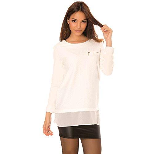 Miss Wear Line - Pull blanc avec zip, et voilage au dos avec boutons