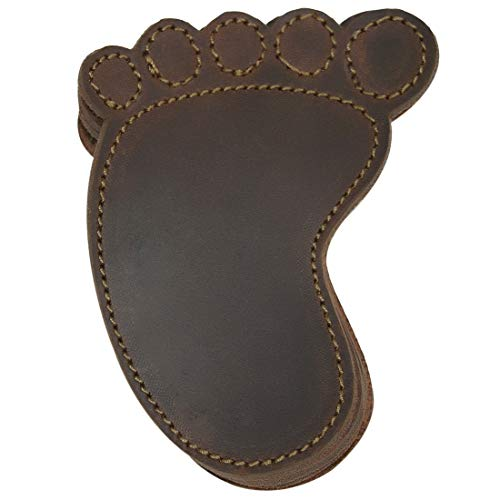 Hide & Drink, Durable Thick Leather Footprint Path Hunter Set Coasters (6-Pack) Handmade Includes 101 Year Warranty :: Bourbon Brown