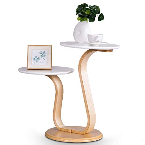 Giantex Bentwood End Table W/Birch Base S Shaped Curved Legs and 2-Piece Round White Paint Tray Top, Tea Table for Living Room, Bedroom, Study Room, Indoors & Outdoor Beside Sofa Coffee Table (Lacquer Round Accent Table)