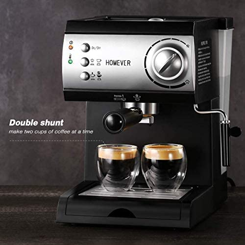 Machine à café expresso à pompe traditionnelle, cafetière expresso traditionnelle italienne Homever 15 Bar 1050W avec moussage lait, réservoir d'eau amovible 1,5 L, plateau d'égouttement lavable pour