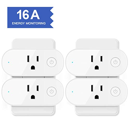 Smart Plug Energy Monitoring, Aoycocr Wifi Smart Outlet Compatible With Alexa, Echo, Google Home and IFTTT, Voice Control, App Remote Control, Timer, FCC certificated (4 pack)
