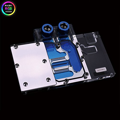 B BYKSKI PC Water Cooling Full-Cover RGB RBW LED GPU VGA Block for Graphic Video Card XFX RX 580 8G RX 480 4G (RGB LED Block)