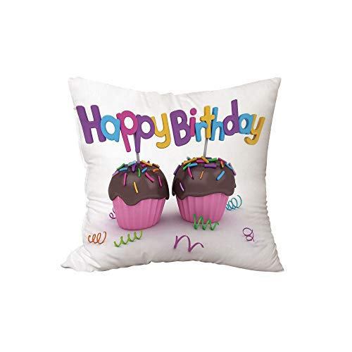 iPrint Polyester Throw Pillow Cushion,Birthday Decorations,3D Illustration of Chocolate Covered Cupcakes with Greetings Attached,Multicolor,15.7x15.7Inches,for Sofa Bedroom Car -