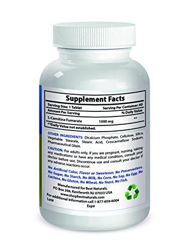 Best Naturals L Carnitine 1000mg 60 Tablets