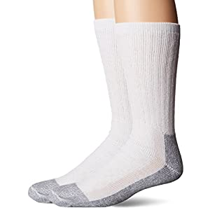 Fruit of the Loom Men's Work Gear Crew Socks with Arch Support | Breathable & Lightweight | 2 Pack Socks,White, Shoe Size 6-12/Sock Size 10-13