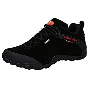 XIANG GUAN Men's Outdoor Low-Top Lacing Up Water Resistant Trekking Hiking Shoes Black 8