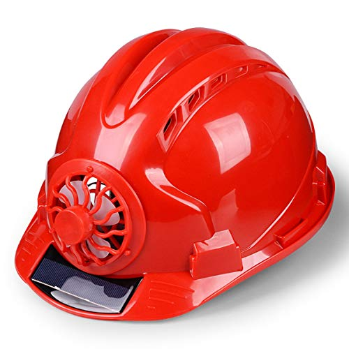 Adjustable Construction Helmet With 'Solar Fan' Vents-Meets ANSI Standards-Personal Protective Equipment, for Construction,Home Improvement And DIY Projects/PP (Color : Red) ()