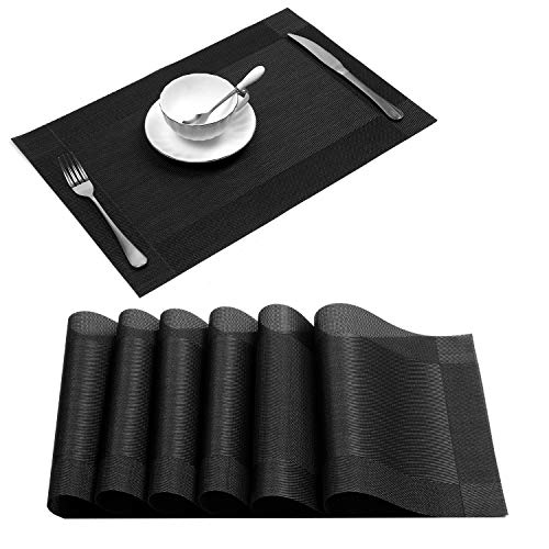 U'Artlines Placemat, Crossweave Black Woven Vinyl Non-Slip Insulation Placemat Washable Table Mats Set of 6