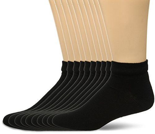 Fruit of the Loom Men's Value 10 Pack Low Cut, Black, Shoe Size 11-15/Sock Size 12-16