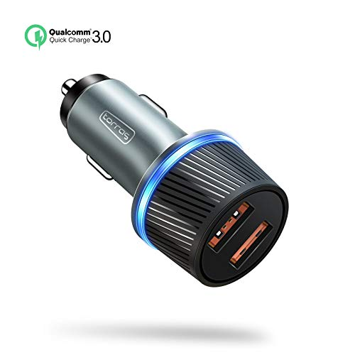 [4th-Gen] Quick Charger 3.0 36W USB Car Charger, TORRAS Aluminum Double Car Charger Works with iPhone XR/Xs Max/X /8 Plus, Galaxy S10 / S9 / S9+ / S8 / S8+ / Note 9, Google Pixel3/3a-Pewter