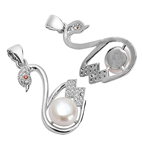 1pc Top Quality Silver Swan Charm/Pendant with Natural Freshwater Pearls, Man Made Diamond Simulants # - Pearl Graduation Charm