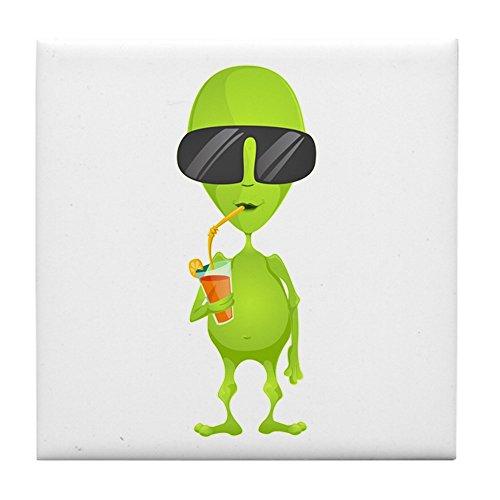 Tile Coaster (Set 4) Little Green Alien Sipping a Drink