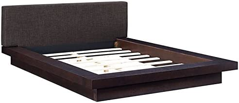 Modway Freja Upholstered Queen Platform Bed with Wood Slat Support in Cappuccino Latte