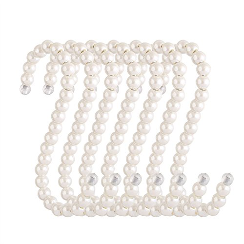 RuiLing 5-Pack White Pearl Beads Hanging S Hooks S Shape Non-Slip Ornament Hook- S Shaped Creativity S Hooks, for Closets, Wardrobe, Clothing Shop, Shopping Mall