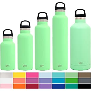 Simple Modern 20 Ounces Ascent Water Bottle - Vacuum Insulated Standard Mouth Sweat Free Fits Cup Holders 18/8 Stainless Steel Green Swell Flask - Double Wall Hydro Travel Mug - Mint