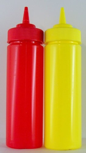 (KETCHUP AND MUSTARD PLASTIC BOTTLES (SET OF TWO) 12oz. by Tablecraft)