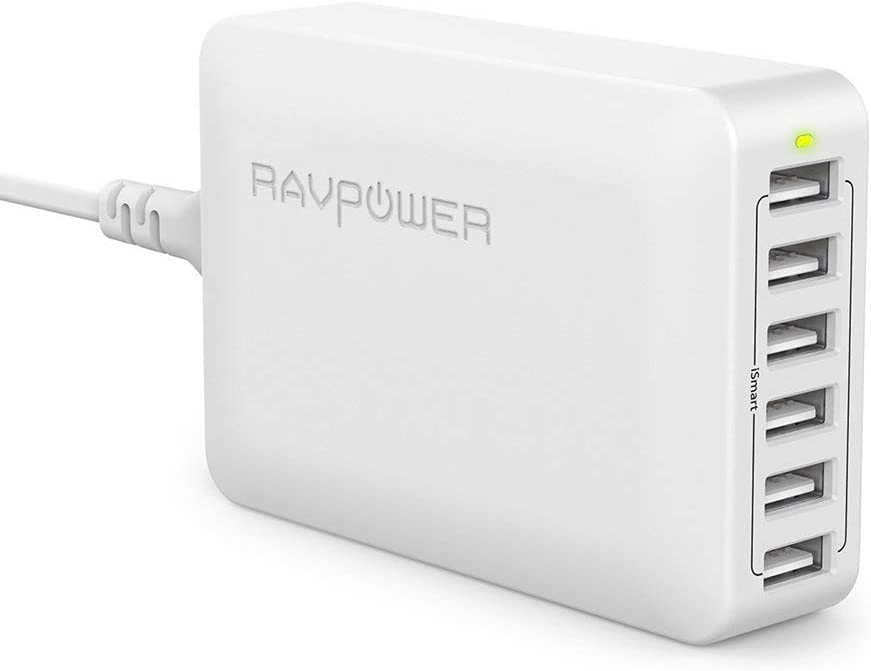 USB Charger RAVPower 60W 12A 6-Port Desktop USB Charging Station with iSmart Multiple Port, Compatible iPhone SE 11 Pro Max XS XR X iPad Pro Air Mini Galaxy S10 Note 10 Tablet and More (White)
