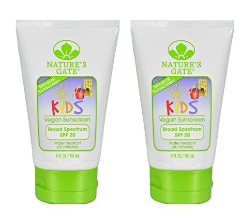 Shea Butter Sunscreen Natural (Nature's Gate Mineral Kids Broad Spectrum SPF 20 Sunscreen (Pack of 2) With Safflower Seed Oil, Shea Butter and Apricot Kernal Oil, 4 fl. oz. Each)