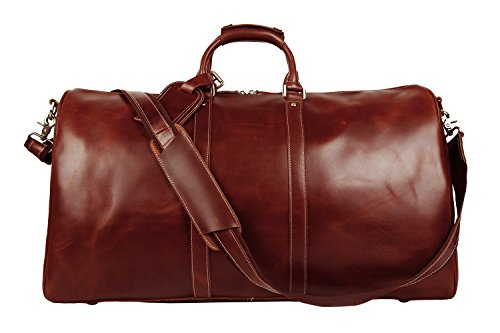 BAIGIO Men's luxury Leather Weekend Bag Travel Duffel Oversize Tote Duffle Luggage (Brown) by BAIGIO (Image #2)