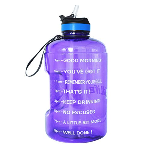 BuildLife Gallon Motivational Water Bottle with Time Marked to Drink More Daily and Nozzle,BPA Free Reusable Gym Sports Outdoor Large(128OZ) Capacity (Light Purple, 1 Gallon)