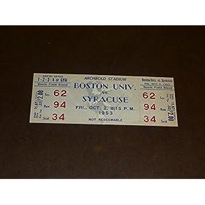 1953 BOSTON UNIVERSITY AT SYRACUSE COLLEGE FOOTBALL FULL TICKET EX MINT