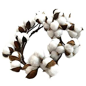 Fityle White Cotton Wreath Completely Handcrafted Artwork Cotton Garland 13