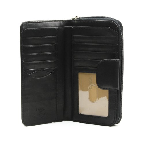 (Italian Cow Leather Grande Zip-Around Clutch Wallet with ID Window)