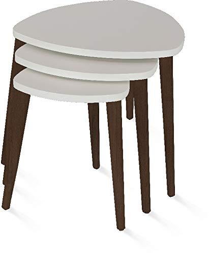 SavaHome Modern, Lightweight, Stackable Set of 3 Wallnut Beige Triangular Nesting Table - Triangular Nesting Tables