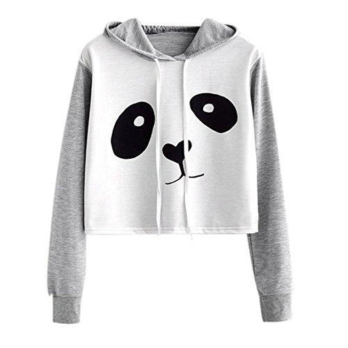 Girls Hoodie, Misaky Rose Parttern Sweatshirt Jumper Sweater Crop Top Pullover Tops (XL, W_Gray 2)