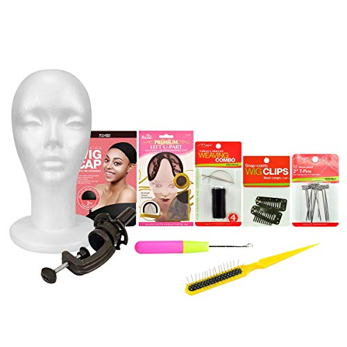 Styrofoam Head DIY Wig Making Starter Kit for Wig Styling Displaying Dressing with Wig Clamp, Brush, T-Pins Wig Clips
