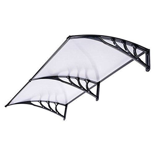 Outdoor Window Door Patio Sun Shade Awning 6.5ft, Clear Black