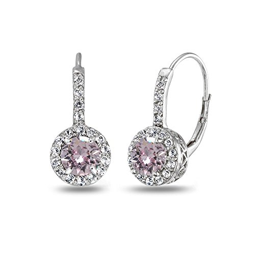 Silver June Birthstone Ring - Sterling Silver Pink Halo Leverback Drop Earrings created with Swarovski Crystals