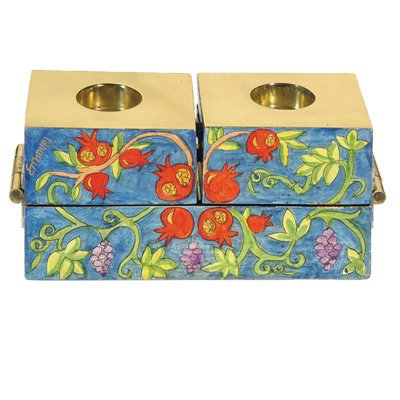 World Of Judaica Yair Emanuel Multicolor Three-Block Menorah with Pomegranate in Wood