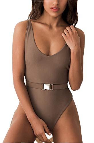 FEIYOUNG Sexy Womens Monokini Scoop Neck One Piece Backless Cheeky Swimwear Semi Thong Bikini with Belt (Small, Coffee)