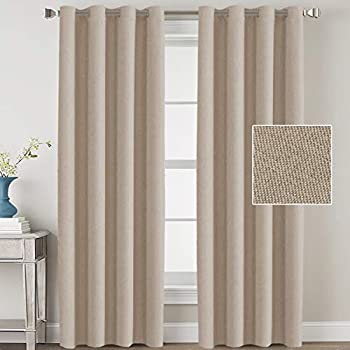 H.VERSAILTEX Linen Blackout Curtains 84 Inches Long Room Darkening Heavy Duty Burlap Efffect Textured Linen Curtains/Draperies/Drapes for Living Room Bedroom - Light Taupe (2 Panels)
