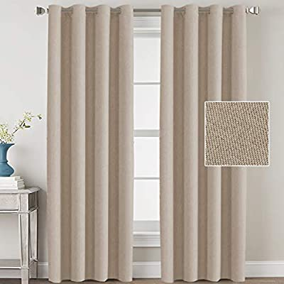 Linen Blackout Curtains Linen Curtains 108 Thermal Insulated Solid Grommet Top Drapes Room Darkening Curtains for Bedroom Window Curtains for Living Room 2 Panels, 52 by 108 Inch - Light Taupe - 2 PANELS SET: Sold pair in package, contains two(2) faux linen panels. Panel measures 52 inches wide by 108 inches long, set measures 104 inches wide by 108 inches long, each window curtain constructed 8 gorgeous copper metal grommets, inner rim of grommet is 1 5/8 inch which fit the rod up to 1 inch, slides smoothly back and forth LIGHT BLOCKING: Crafted from elegant rich faux linen textured fabric, interwoven construction features natural blackout effect, no chemical coating added, while still block out at least 85% sun light and prevent harmful UV ray, this opaque piece totally darken your room, reduce unwanted noise and gives you 100% privacy INSULATED THERMAL: These amazing window coverings are perfect on thermal insulated, energy saving and balance the temperature. Efficiently prevents cold or heat transfer from outside, blocks drafts in cold months and keeps warm air out in the summer. Great for letting you sleep sweetly on weekend mornings and vacation days - living-room-soft-furnishings, living-room, draperies-curtains-shades - 41uX68hvFHL. SS400  -