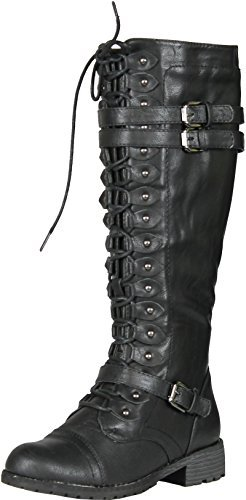 (Wild Diva Womens Timberly-65 Lace Up Knee High Boots Black)