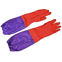 Pair Household Working Cleaning Elbow Long Latex Gloves Purple Red
