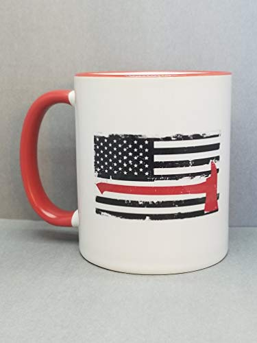 (Thin Red Line Flag, Fire Dept. 2-Sided 11 oz. Coffee Mug. Police Officer Support)
