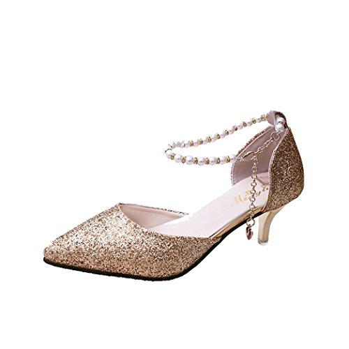 AOJIAN Women's Spring Casual Thin Heels Shoes Sequins String Bead High-Heeled Shoes (6.5, Gold) by AOJIAN