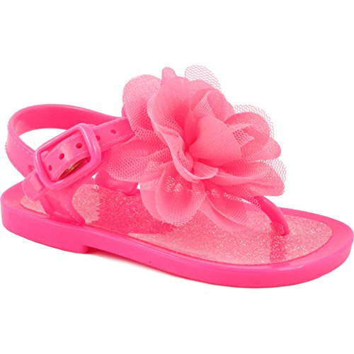 Wee Kids Baby-Girls Sandals Jelly Shoes (Infant Shoes Baby Shoes) Girls Summer Sandals Hot Pink Sz 10 Girls Pink Flower Sandals
