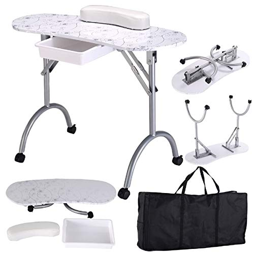 Manicure Nail Table Portable Folding Nail Station Desk 1-Drawer Manicure Table Technician Desk Workstation Client Wrist Pad,Free Carrying Case Spa Beauty Salon Rolling Wheels 35.4″15.7″27.6″ (White)