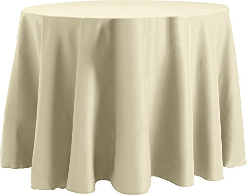 108 Inch Round Tablecloth, Flame Retardant Basic Polyester, Oyster (Oyster Table)