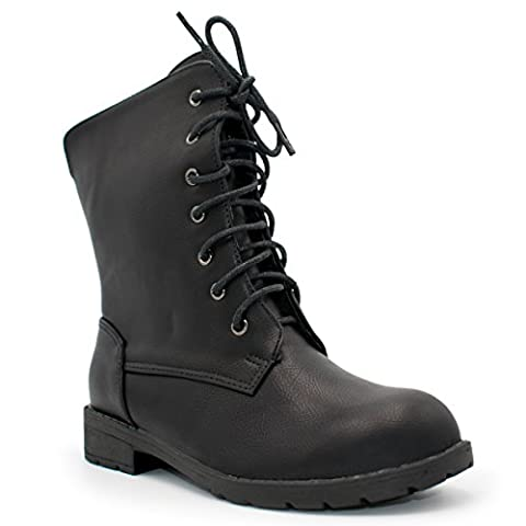I Heart Footwear - Little Girls Round Toe Low Heel Combat Boots, TS Paula-02C Black Size 13 - Footwear Combat Boots