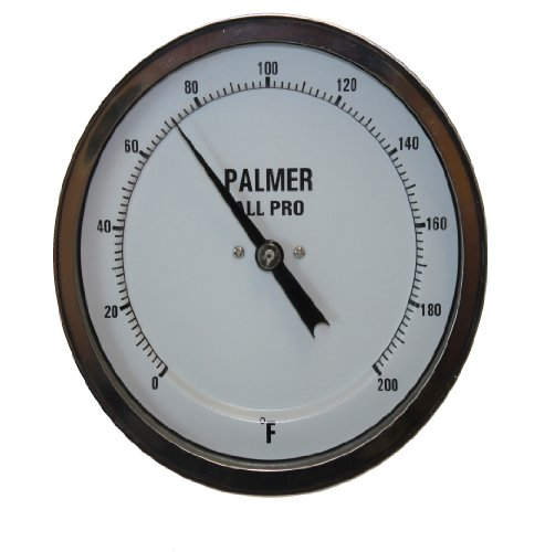 "Palmer 3BCP40/250F All Pro Welded Stainless Steel 304 Bimetal Thermometer, 0/250 F Range, 3"" Dial, 4"" Stem, 1/2"" NPT Connection, Back Mount"