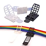 AMPSEVEN Cable Management Clips Adhesive Cable Ties,Adjustable Nylon Cable Zip Clips with Screw Mount, 50pcs Black+50pcs White