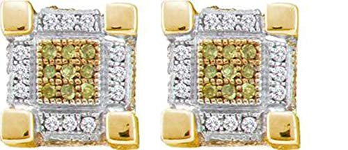Aienid 10Kt Yellow Gold 0.28Ct Diamond Earrings for Women Micro-Pave Stones ()