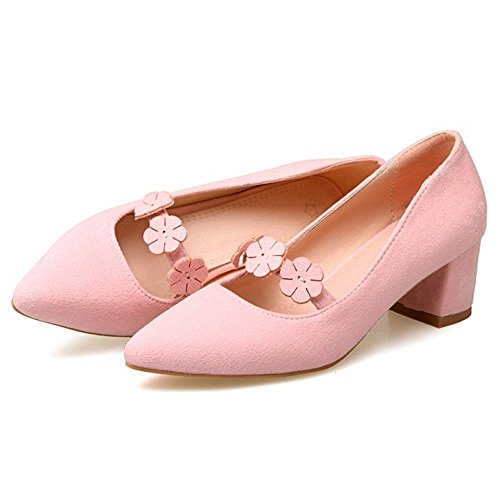 Toe Pink TAOFFEN Closed Heel Pumps Block Women PrqrpgE