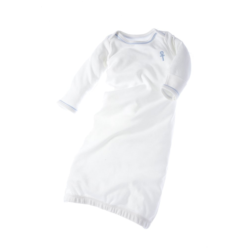 little pharo 100/% Extra-Long Staple Egyptian Cotton Bundler Nightgown ivory with blue piping, size 3-6 months