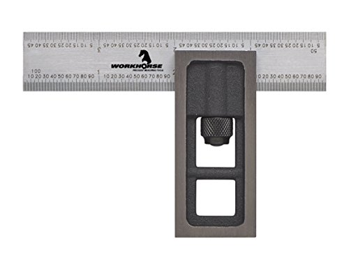 WORKHORSE 3049.25014658 Precision Double Square, 4'' Rule Blade x 16R Graduations, 2 Piece by Workhorse